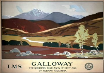 Galloway, The Southern Highlands of Scotland. LMS Vintage Travel Poster by Norman Wilkinson